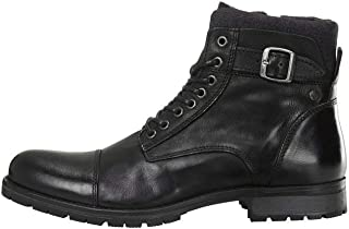Jack & Jones Mens Albany Leather Biker Boots, Color: