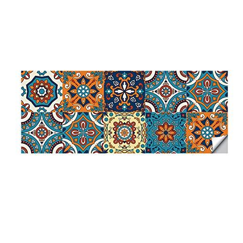 10 pegatinas para azulejos de pared, suelo y pared, autoadhesivas, para cocina, sala de estar, baño, decoración del hogar (20 x 20 cm)