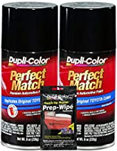Dupli-Color Black (Metallic) Exact-Match Automotive Paint for Toyota Vehicles - 8 oz, Bundles Prep Wipe (3 Items)