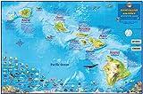 Hawaii Map Poster Hawaiian Islands Adventure Map Laminated Poster