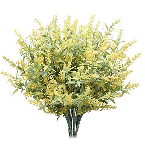Derbway Actualizado Lavanda Artificial, 4PCS Ramo de Flores de Lavanda para Decoración de Planta Patio Jardín Hogar Oficina del Banquete Boda (Amarillo)