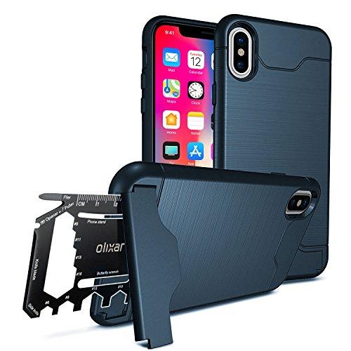 iPhone X Military Case / Rugged Hülle / Survival - Kartenfach / Kartenslot - TPU Schale - Standfunktion - Olixar X-Ranger - Multi Tool - Marineblau - Kompatibel Mit iPhone