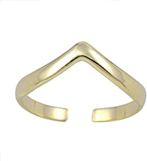 California Toe Rings Women's 14K Gold Plated Chevron V Midi Above The Knuckle Adjustable Toe Ring