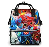 UUwant Mochila de pañales Momia Diaper Bag,Versatile Stylish and Durable, Suitable for Mom and Dad,Traditional Mexican Day of The Dead Souvenir Ceramic Skulls at Market Stall