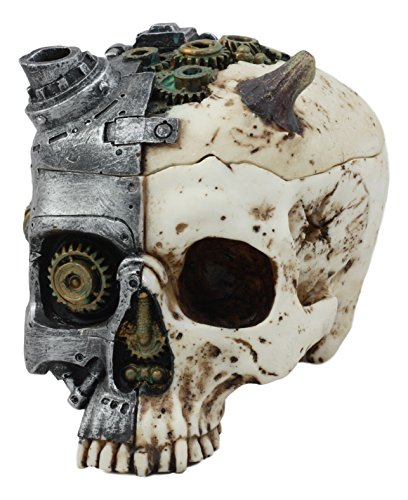 ATL Steampunk Demon Cyborg GEARWORK Painted Skull Jewelry Box Ashtray Sculpture 5