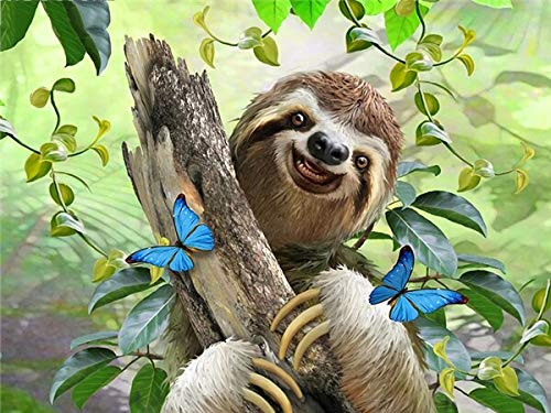 neivy Forest Animal Sloth DIY 5D Diamond Painting Full Drill Kits Drills Embroidery Painting Pictures Kits DIY Art Craft for Home Wall Decor(Full Square 50x60cm)