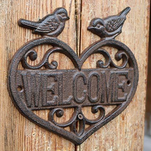CKH Europese Retro Gietijzer Smeedijzer Decoratieve Kaart Vogel Hart Type Welkom Merk Thuis Kantoor Wanddecoratie