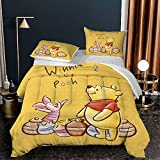 Juego de cama de 3 piezas de Winnie The Pooh para niños y niñas, 3D de dibujos animados Winnie The Pooh con 2 fundas de almohada de microfibra suave juego de cama (A05, doble: 200 x 200 cm)