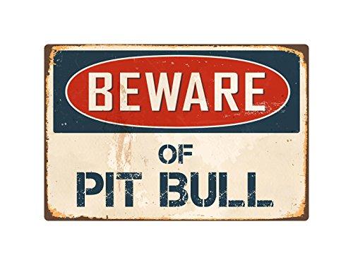 "StickerPirate Beware of Pit Bull 8"" x 12"" Vintage Aluminum Retro Metal Sign VS334"
