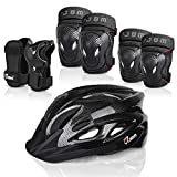 JBM 7 Pieces Protective Gear Set - Bike Helmet for Adult Knee&Elbow Pads and Wrist Guards, Adjustable Cycling...
