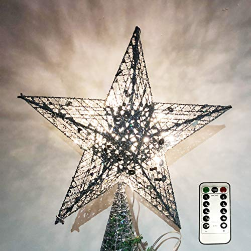 NIGHT-GRING 12.2 inch Christmas Tree Topper LED Star Treetop Decoration Christmas Decorations (Silver)