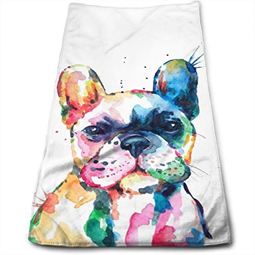 Colorful Puppy Dog Hand Towels for Bathroom,Swimming,Yoga,Gym Soft Absorbent Microfiber Unisex 27.56 X 11.81 in Watercolor Funny French Bulldog Small Bath Towels