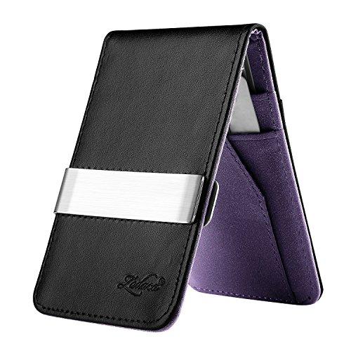 Zodaca Horizontal Genuine Leather Money Clip Wallet, Black/Purple