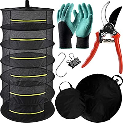 """EDENCONE 6 Tier Herb Drying Rack Hanging Mesh Net with Premium Pruning Shears, Storage Bags, Garden Gloves, Hook, Clip, 24""""x48"""" Collapsible Zippered Herb Dryer for Drying Herbs, Spices"""