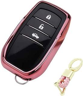 Royalfox(TM) 3 4 5 6 Buttons Soft TPU Smart keyless Remote Key Fob case Cover Shell for Toyota Holder Highlander Avalon Crown Land Cruiser Prado Mark X Camry Corolla Reiz RAV4 (Pink)