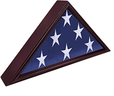 BHealthLife 5' x 9.5' Flag Display Case for Burial Funeral Veteran Military Flag Holder Frame Shadow Box