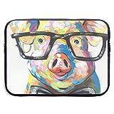 Cute Colorful Animal Smart Potter Pig 13-15 Inch Laptop Sleeve Bag Portable Dual Zipper Case Cover Pouch Holder Pocket Tablet Bag,Water Resistant,Black