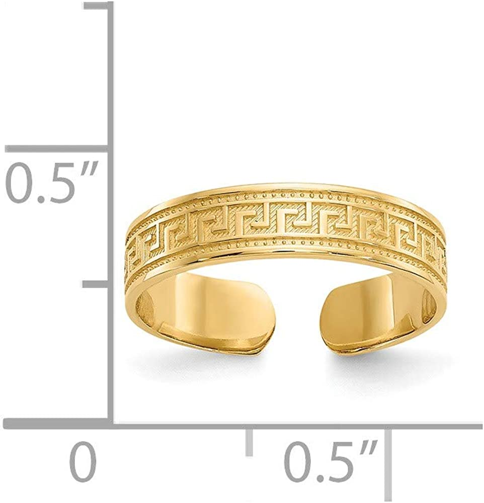 14k Yellow Gold Greek Key Adjustable Cute Toe Ring Set Fine Jewelry For Women Gifts For Her