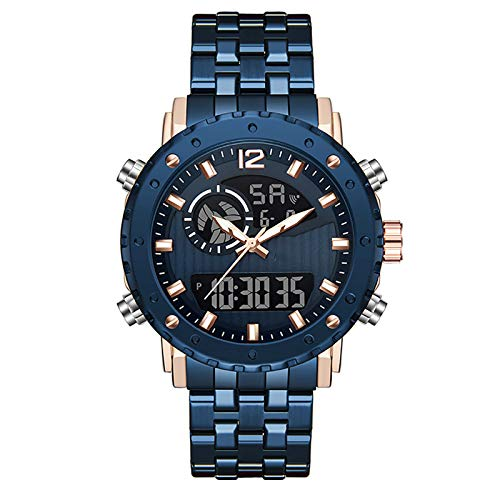WTYU Reloj Informal de Hombre de Acero Inoxidable, con Fecha de Reloj Despertador Pantalla Luminosa Gran dial Moda Reloj de Moda A