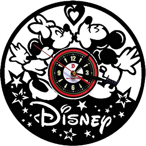 BBZZ Wanduhr Carino Wanduhr Mickey Mouse Disney aus Vinyl - außergewöhnliches Geschenk für Weihnachten, Halloween und Kinderzimmer,Schwarz