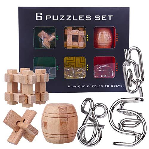 LoKauf 6Pcs Rompecabezas de Metal Madera Juegos de Ingenio Puzzles 3D Juego IQ Calendario de Adviento para Adultos Niños