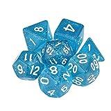 Juego de 7 dados de acrílico TRPG de mazmorras y dragones Polyedral D4-D20 de varias caras, color azul, calidad adorable y duradero