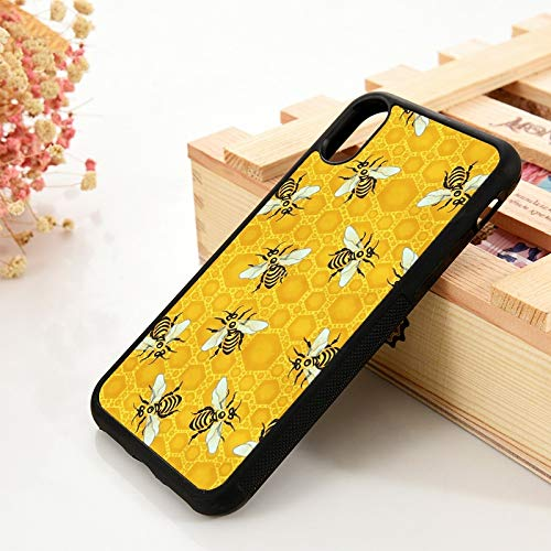 KKAAVV para 5 5S SE 6 6S TPU Funda de Silicona para iPhone 7 8 Plus X XS 11 Pro MAX XR Honeybees Honeycomb Bee Apiary Pattern, para iPhone 6 Plus