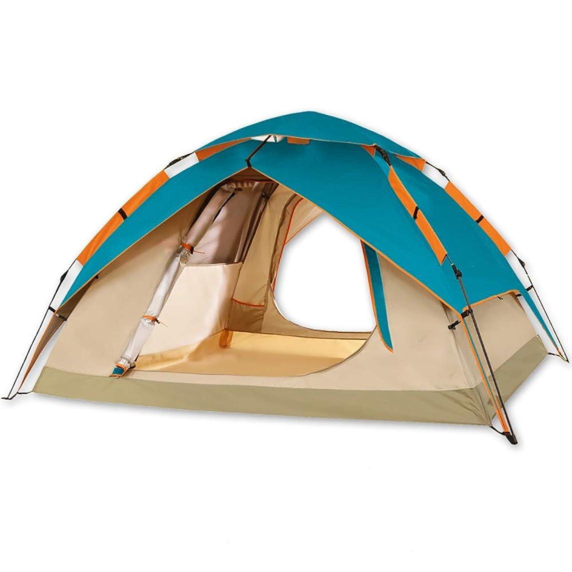 柔らかいカウンタメッセンジャーテントキャンプ、全自動屋外3-4人家族のテント、ダブル肥厚キャンプ防雨テントの防水カラーカメラ付防風アンチUV 0602 (Color : Lake blue)