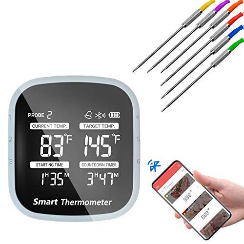 Termometro Cucina Bluetooth Termometro Carne Intelligente Termometro Barbecue con 6 Sonde per BBQ, Bistecca, Forno, Latte