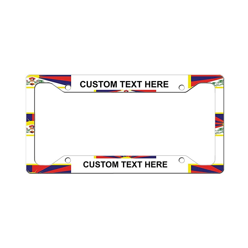 Style In Print Custom License Plate Frame Tibet Country Flag Heart Aluminum Cute Car Accessories Wide Top Personalized Text Here Set of 2