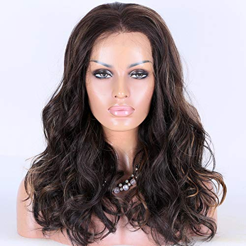 """Miss Diva Long Wavy Wigs Synthetic Lace Front Wigs 18"""" For Women Replacement Wigs HD Transparent Mesh Cap"""