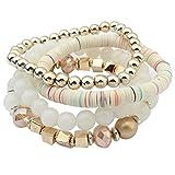 IEason Women Colorful Beads Bangle Handmade Bracelets Florid Cool Black (White)