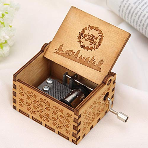 Ruorin Wooden Music Box Hand Crank Musical Box, Lord Ring Wood Carved Music Box Gift for Adult Kids Home Decoration Craft