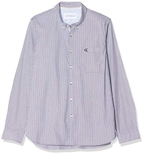 Calvin Klein Washed Stripe Stretch Shirt 'f' Camicia, Blu (Night Sky Chw), X-Large Uomo