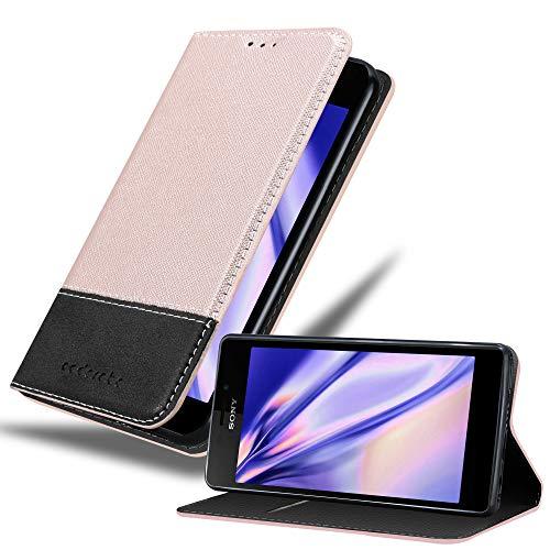Cadorabo Hülle für Sony Xperia M2 / M2 Aqua in ROSÉ Gold SCHWARZ – Handyhülle mit Magnetverschluss, Standfunktion & Kartenfach – Hülle Cover Schutzhülle Etui Tasche Book Klapp Style