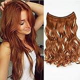 Extensión de cabello con hilo invisible Rizado ondulado falso Largo 50cm Banda Uncia Peso 105g Alambre en extensiones de cabello sin clip - Auburn
