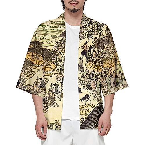 CIZEUR Hombre Hippie Camisa Kimono Japonés Estampado Holgado Manga 3/4,2XS Pintura China