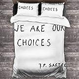 Juego de ropa de cama de 3 piezas de 2016 x 188 cm, We are Our Choices Iii cómodas sábanas de tamaño completo con 2 fundas de almohada cuadradas clásicas para dormitorio de las mujeres