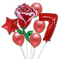 バルーン 7ピースひまわりローズフラワーパーティーバルーン誕生日装飾番号1 2 3バルーン子供誕生日パーティーベビーシャワー装飾グローバル (Color : Clear)