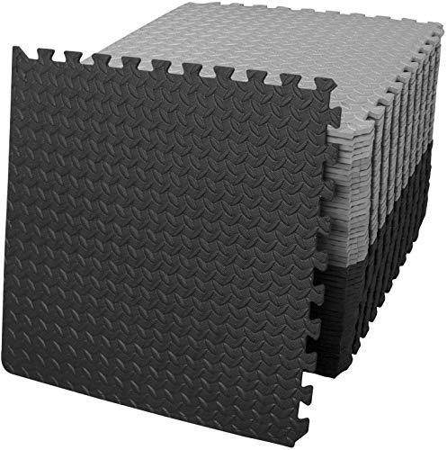 Esterilla de gimnasia de espuma con diseño de rompecabezas, para el suelo de gimnasio, con revestimiento de espuma EVA para entrenamiento de equipos de gimnasio (24 negros y 24 grises)