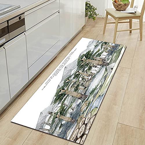 HLXX Red series wood grain kitchen floor mats door floor mats home corridor floor decoration bedroom floor mats A18 50x160cm
