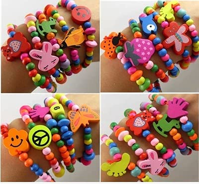 XKMY Bracelets for Kids, 20 pieces/batch, children's wooden candy color bracelet, bulk birthday gift/toy, little princess accessories (Main Stone Color : MULTI, Metal Color : Random)