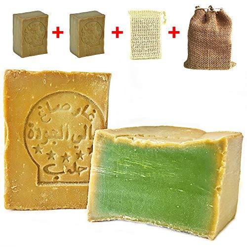 Aleppo Seife Set 2x 80% Olivenöl, 20% Lorbeeröl+Sisal Seifensäckchen+Seifenbeutel, Haarseife,Rasierseife, geeignet für unreine Haut, Handarbeit und Vegan
