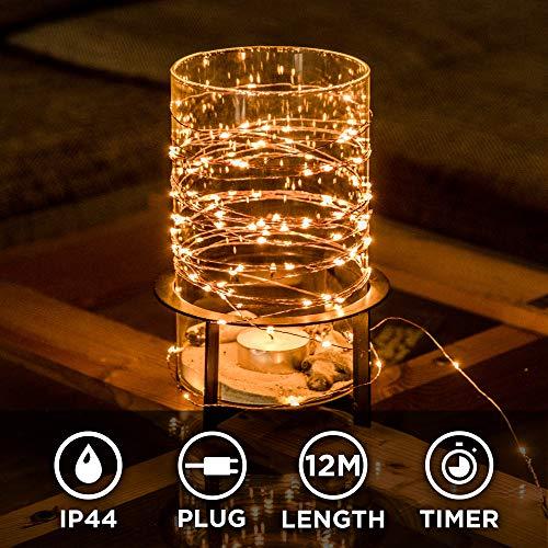 Kupferdraht 100er LED Lichterkette für innen und außen – 12 Meter | Mit Netzstecker NICHT batterie-betrieben | 100 LEDs warm-weiß | kein lästiges austauschen der Batterien | Kupfer Draht von CozyHome