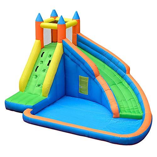 YM963 Grande Inflable Piscina al aire libre castillo hinchable, for niños o for adultos Juegos Centro de Actividades con Tobogán de agua, nylon y tela Oxford, Apto for 5-8 personas (400 x 310 x 230 cm