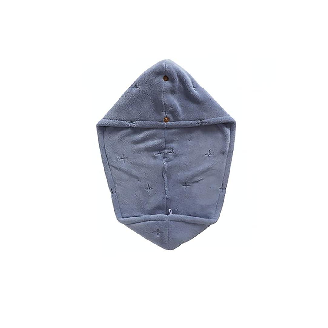 として平等バックYVCHEN シャワーキャップ、ダブル層吸収柔らかい乾いた髪の帽子、タオルドライ、タオル (Color : Blue)