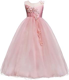 1b9bbc712262e Enfant Fille Robe Cérémonie Longue en Dentelle Robe de Princesse Corsage  Florale Fleur Costume Habillée de