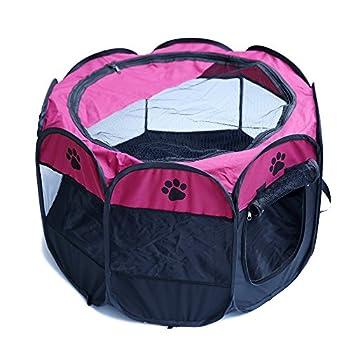 Tineer Portable Pet Cat Cage pour Chien Niche Chenil Tente Lit Parc d'enfant Camping de Plein air Pliable Maison de Caisse de Chien de Voyage Playpen (Medium: 90×90×60cm, Rose)