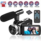 Camcorder Videokamera 1080p 30FPS Video Camcorder 24MP 18x Digitalzoom Camcorder mit Mikrofon 3 Zoll IPS Videokamera mit 270 °Drehung und Webcam Funktion