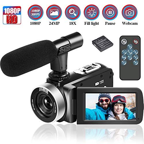 Camcorder Videokamera 1080p 30FPS Video Camcorder 24MP 18x Digitalzoom Camcorder mit Mikrofon 3 Zoll IPS Videokamera mit 270 °Drehung und Webcam Funktion